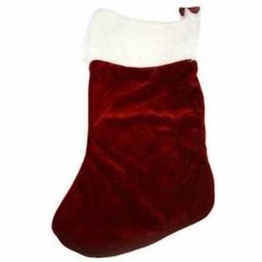 Kerstdecoratie velours kerstsok donkerrood 20 cm