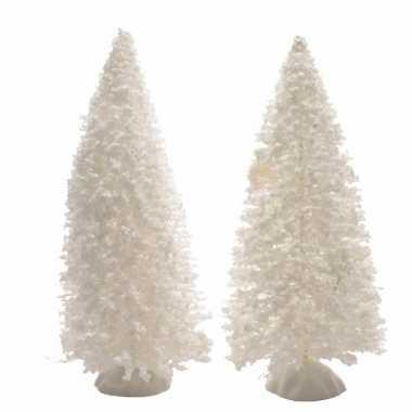 Kerstdecoratie witte dennenbomen 2 stuks 15 cm