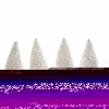 Kerstdecoratie witte dennenbomen 4 stuks 10 cm