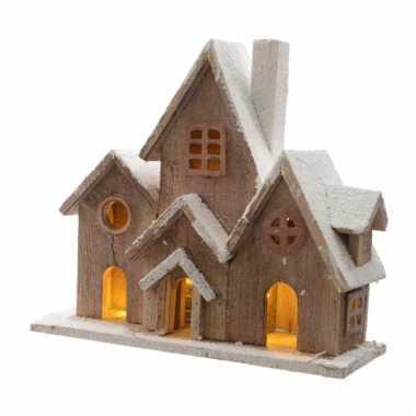 Kerstdorp straat van hout 36 cm