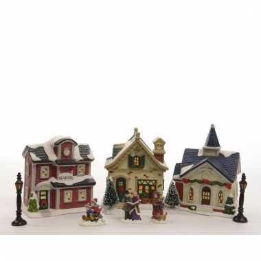 Kersthuisjes set met led verlichting 36 cm