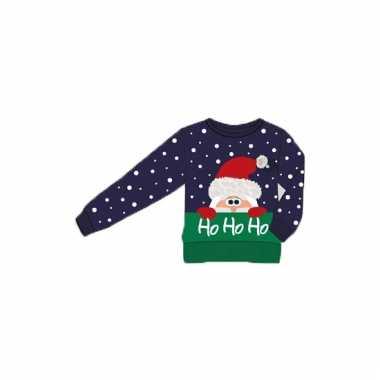 Kerstmis blauwe kindertrui ho ho ho