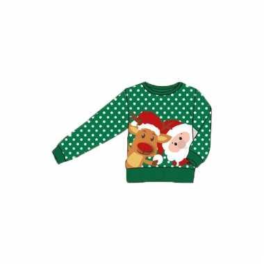 Kerstmis groene kindertrui met print
