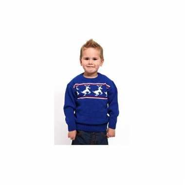 Kerstmis kinder trui blauw met rendieren