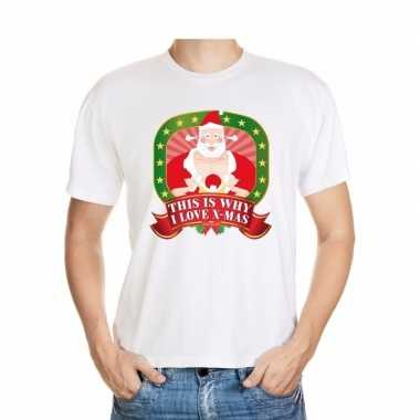 Kerstmis shirt wit this is why i love x-mas player kerstman voor mann