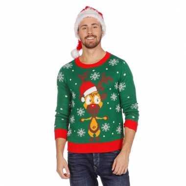 Kerstmis trui groen met rendier voor mannen