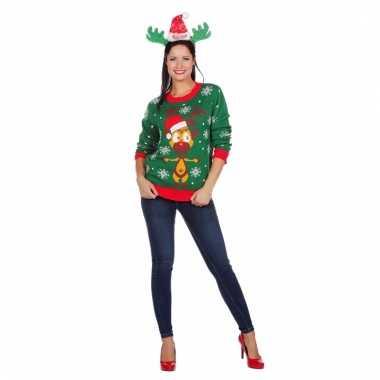 Kerstmis trui groen met rendier voor vrouwen