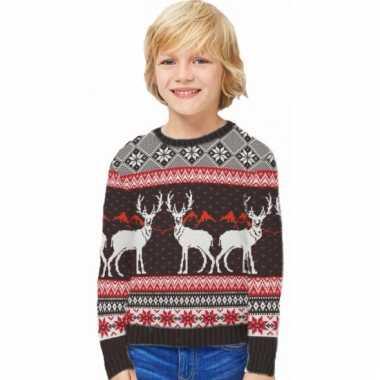 Kerstmis trui happy reindeers voor kids
