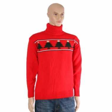 Kerstmis trui rood met kerstbomen