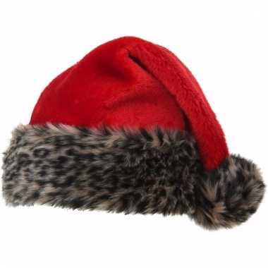 Kerstmuts met luipaard bontrand