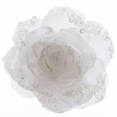 Kerstroos witte kunstbloem 14 cm