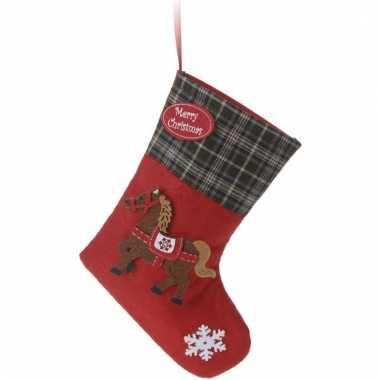 Kerstsokken rood vilt met paard type 2 20 cm