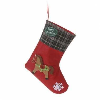 Kerstsokken rood vilt met paard type 3 20 cm