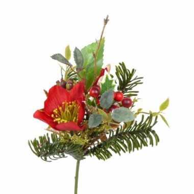 Kerststukje insteek versiering rode helleborus 17 cm
