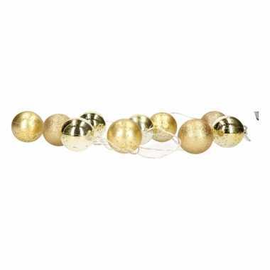 Kerstverlichting kerstballen goud slinger met led