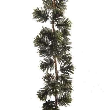 Kerstversiering dennenappel slinger 120 cm groen/goud