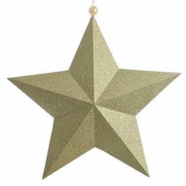 Kerstversiering gouden papieren ster 22 cm