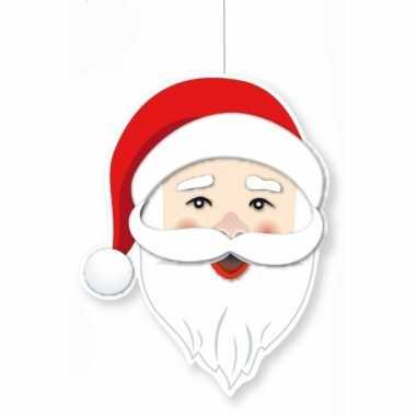 Kerstversiering kerstman hoofd 28 cm