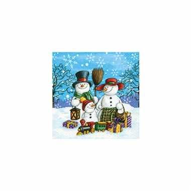 Kerstversiering servetten met sneeuwpop