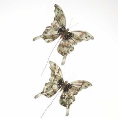 Kerstversiering vlinders set van 2 beige
