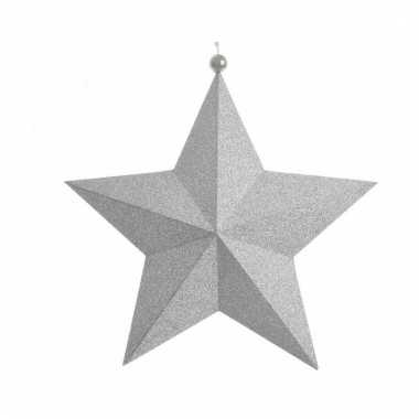 Kerstversiering zilveren papieren ster 22 cm