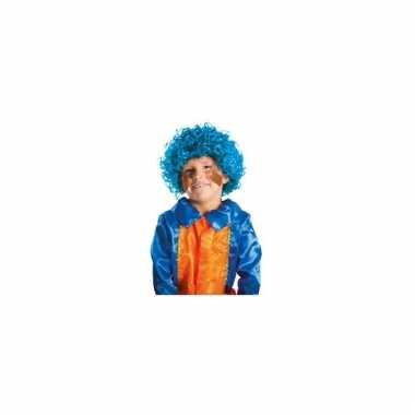 Kinder pieten pruik blauw