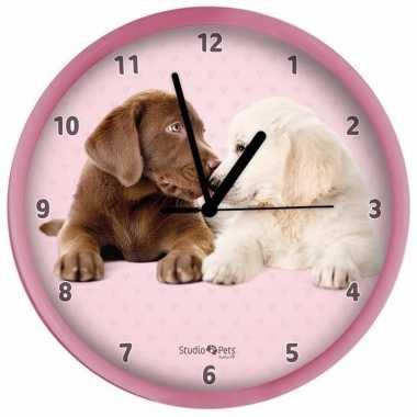 Kinder wandklok roze labrador pups