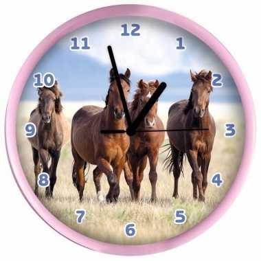 Kinder wandklok roze paarden