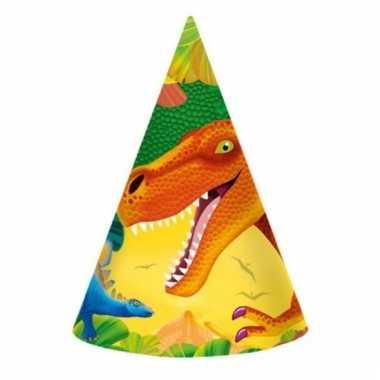 Kinderfeestje dinosaurus hoedjes 8 stuks