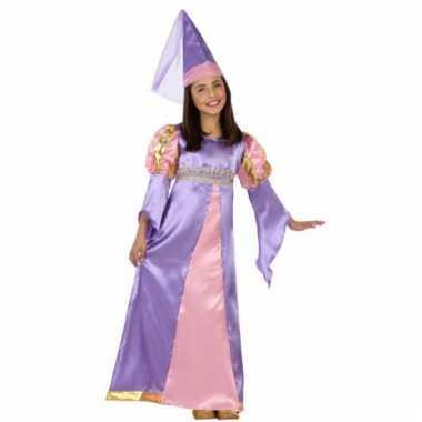Kinderkostuum middeleeuwse paars prinses jurk
