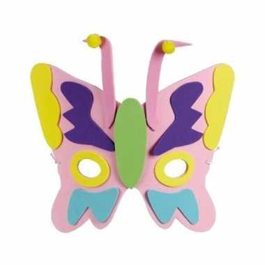 Kindermasker van een roze vlinder 18cm