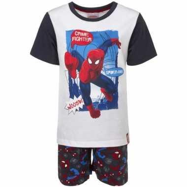 Kinderpyjama spiderman wit/zwart