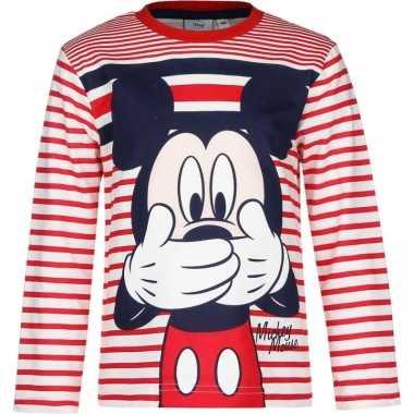 Kindershirt mickey mouse wit met rood