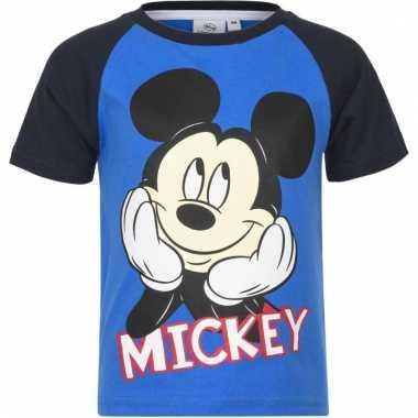 Kindershirt mickey mouse zwart met blauw