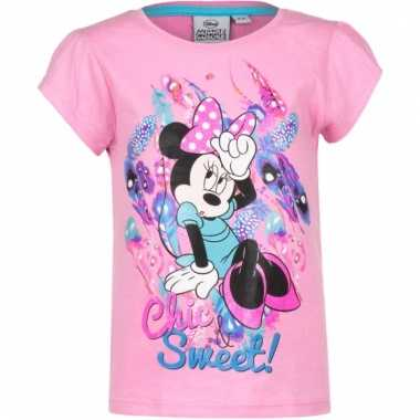 Kindershirt minnie mouse roze