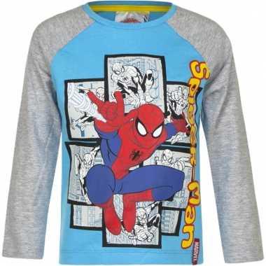Kindershirt spiderman blauw met grijs