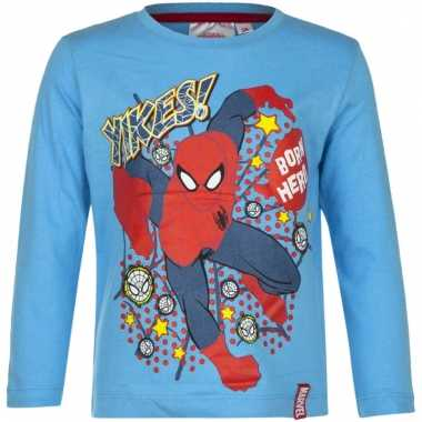 Kindershirt spiderman licht blauw
