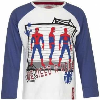 Kindershirt spiderman wit met blauw