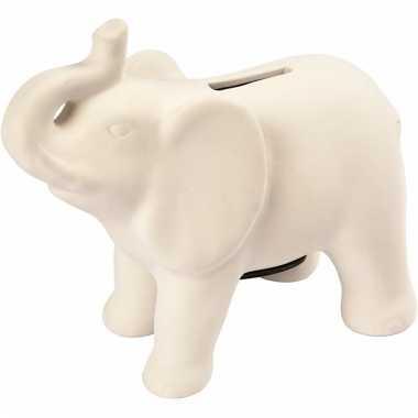 Klei spaarpot indiase olifant wit