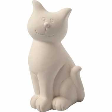 Klei spaarpot kat wit