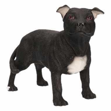 Kleine beeldje staff bull terrier zwart 15 cm