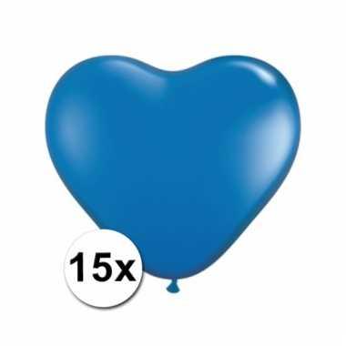 Kleine blauwe hartjes ballonnen 15 stuks