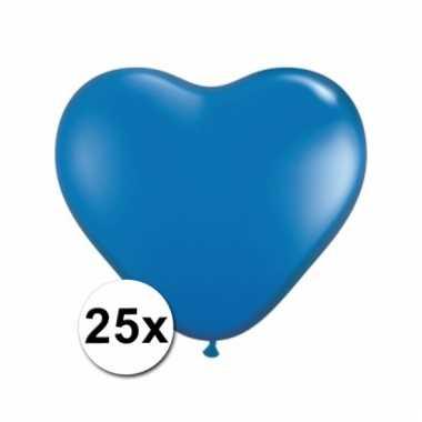 Kleine blauwe hartjes ballonnen 25 stuks