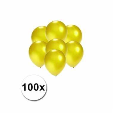 Kleine geel metallic ballonnetjes 100 stuks