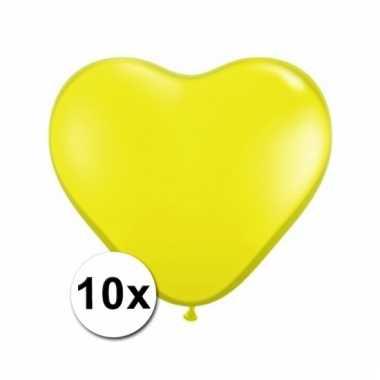 Kleine gele hartjes ballonnen 10 stuks
