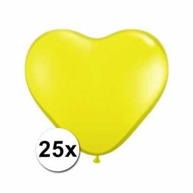 Kleine gele hartjes ballonnen 25 stuks