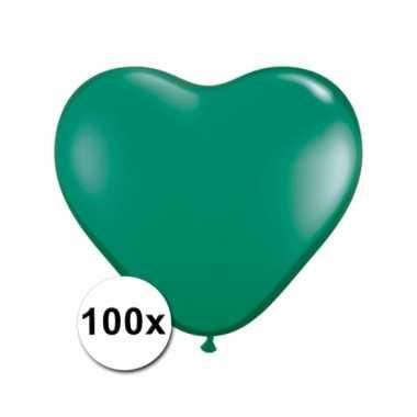 Kleine groene hartjes ballonnen 100 stuks