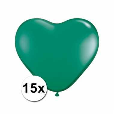 Kleine groene hartjes ballonnen 15 stuks