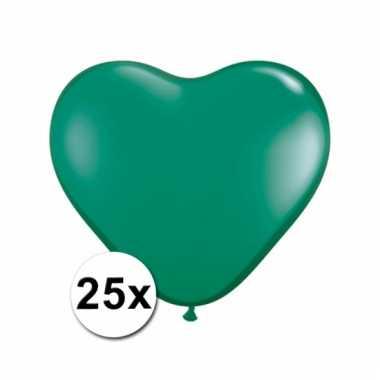 Kleine groene hartjes ballonnen 25 stuks