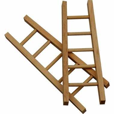 Kleine houten ladders 6 stuks